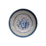 BLUE RICE ROUND DEEP PLATE CHINA 8