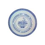 BLUE RICE ROUND DEEP PLATE CHINA 7