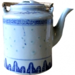 TEA POT TALL  BLUE RICE